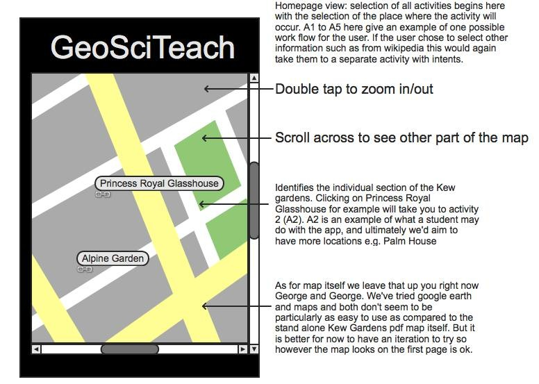 Screen Shots of the prototype GeoSciTeach Phone App